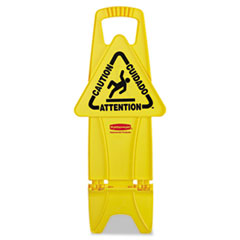 Rubbermaid® Commercial Stable Multi-Lingual Safety Sign, 13w x 13 1/4d x 26h, Yellow