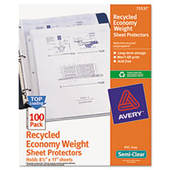 Avery® Top-Load Recycled Polypropylene Sheet Protector, Semi-Clear, 100/Box