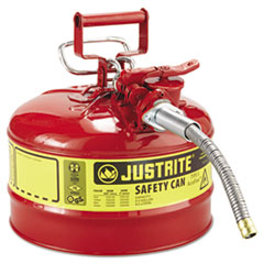 JUSTRITE® Type II AccuFlow Safety Can, 2.5gal, Red, 5/8in Diameter Hose