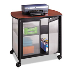 Safco® Impromptu Deluxe Machine Stand w/Doors, 34.75w x 25.5d x 30.75h, Black/Cherry