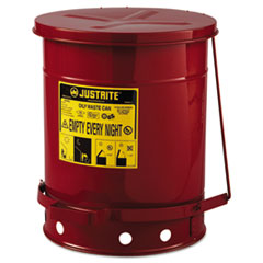 JUSTRITE® Red Oily Waste Can, 10gal, Lever Lid