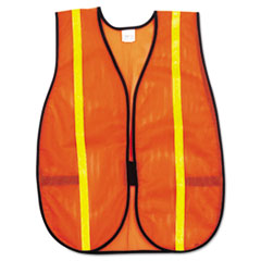 MCR™ Safety Polyester Mesh Safety Vest, 3/4 in., Lime Green Stripe, One Size Fits All