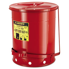 JUSTRITE® Red Oily Waste Can, 14gal, Lever Lid