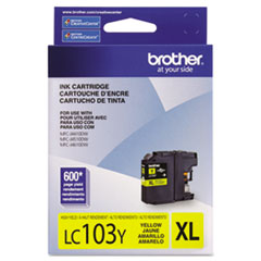 Brother LC103Y Innobella High-Yield Ink, 600 Page-Yield, Yellow