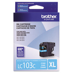 Brother LC103C Innobella High-Yield Ink, 600 Page-Yield, Cyan