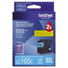 Brother LC105C Innobella Super High-Yield Ink, 1,200 Page-Yield, Cyan