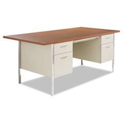 Alera® Double Pedestal Steel Desk, Metal Desk, 72w x 36d x 29-1/2h, Cherry/Putty