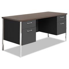 Alera® Double Pedestal Steel Credenza, 60w x 24d x 29.5h, Mocha/Black