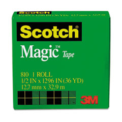 "Magic Tape Refill, 1/2"" x 1296"", 1"" Core, Clear"
