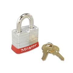 Master Lock® Steel Body Safety Padlock, 4 Pin Tumbler, Red Bumper