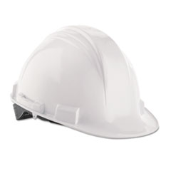 North Safety® A-Safe Peak Hard Hat, White, Rain Trough