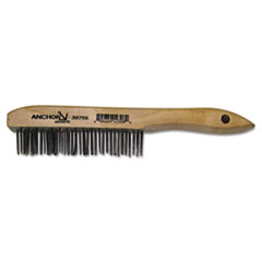 Anchor Brand® Hand Scratch Brush, Stainless Steel Shoe, Wood Handle