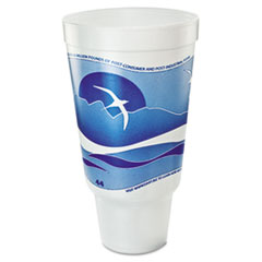 Dart® Horizon Flush Fill Foam Cup, Hot/Cold, 44 oz., Ocean Blue/White, 15/Bag