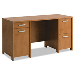 Bush® Envoy Double Pedestal Desk (Box 1 of 2), 58w x 23 1/4d x 30 1/4h, Natural Cherry