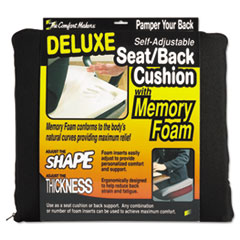 Deluxe Seat/Back Cushion w/Memory Foam, 17w x 2 3/4d x 17 1/2h, Black