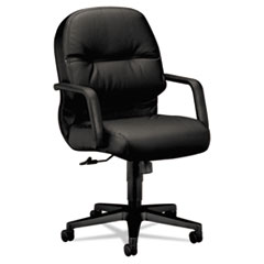 Image of 2090 Pillow-Soft Series Managerial Leather Mid-Back Swivel/Tilt Chair, Black Chairs HON2092SR11T HON