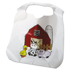 Atlantis Plastics Disposable Child-Size Poly Bibs, Zoo/Farm Pattern, Children's, 250/Carton