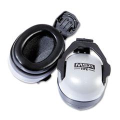MSA Full Brim Hat Muff Ear Protection, 25NRR, Gray/Black