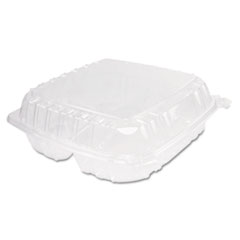 Dart® ClearSeal Hinged-Lid Plastic Containers, 3-Compartment, 9.5 x 9 x 3, 100/Bag, 2 Bags/Carton