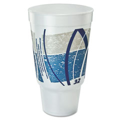 Dart® Impulse Hot/Cold Foam Drinking Cup, 32 oz, Flush Fill, Pedestal Base, White/Blue/Gray, 16/Bag, 25 Bags/Carton