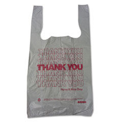 "Barnes Paper Company Plastic Thank-You T-Sack, 2 mil, 4"" x 15"", White, 2,000/Carton"