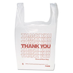 "Inteplast Group ""Thank You"" Handled T-Shirt Bag, 0.167 bbl, 12.5 microns, 11.5"" x 21"", White, 900/Carton"