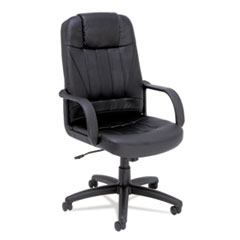 Alera® Sparis Executive High-Back Swivel/Tilt Leather Chair, Supports up to 275 lbs, Black Seat/Black Back, Black Base
