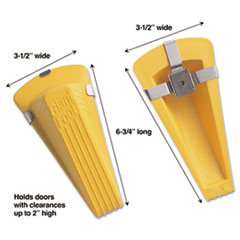 Master Caster® Giant Foot Magnetic Doorstop, No-Slip Rubber Wedge, 3.5w x 6.75d x 2h, Yellow