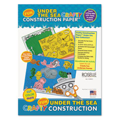 Roselle Crafty Printed Construction Paper, 55 lbs., 9 x 12, Under The Sea, 40 Sheets/Pad PAC02806