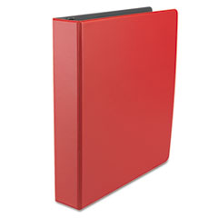 "Economy Non-View Round Ring Binder, 1-1/2"" Capacity, Red"