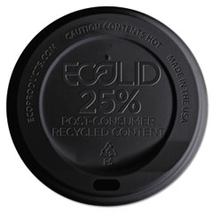 Eco-Products® EcoLid 25% Recy Content Hot Cup Lid, Black, F/10-20oz, 100/PK, 10 PK/CT
