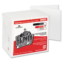 Georgia Pacific® Professional Brawny Industrial Medium Duty DRC Wipers, Quarterfold, 12 1/2 x 13, White, 65/PK