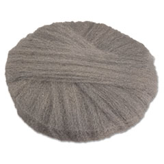 """GMT Radial Steel Wool Pads, Grade 1 (Med): Cleaning & Dry Scrubbing, 18"""", GY, 12/CT"""