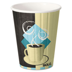 Dart® Duo Shield Hot Insulated 12oz Paper Cups, Tuscan, Chocolate/Blue/Beige, 40/Pk