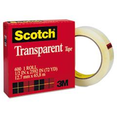 """Scotch® Transparent Tape, 1/2"""" x 72 yards, 3"""" Core, Clear"""