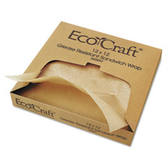 Bagcraft EcoCraft Grease-Resistant Paper Wraps and Liners, Natural, 12 x 12, 1000/Box, 5 Boxes/Carton