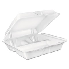 Dart® Large Foam Carryout, Food Container, 3-Compartment, White, 9-2/5x9x3 DCC90HT3R
