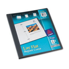 "Lay Flat View Report Cover w/Flexible Fastener, Letter, 1/2"" Cap, Clear/Gray"