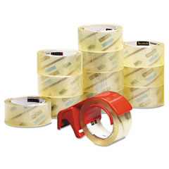 "3750 Commercial Grade Packaging Tape with DP300 Dispenser, 3"" Core, 1.88"" x 54.6 yds, Clear, 12/Pack"