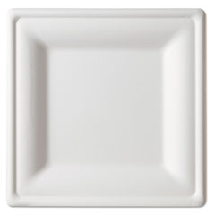 Renewable and Compostable Square Sugarcane Plates, Large, Natural White, 50/Pack, 5 Packs/Carton