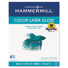 Hammermill® Color Laser Gloss Paper, 94 Brightness, 32lb, 8-1/2 x 11, White, 300 Sheets/Pack