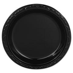 "Genpak® Silhouette Plastic Plates, 9"" Black, 400/Carton"