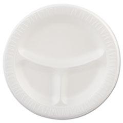 "Dart® Laminated Foam Plates, 3-Compartment, 9"" dia, White, 125/Pack, 4 Packs/Carton"