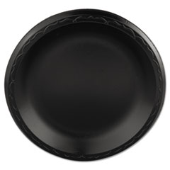 Genpak® Elite Laminated Foam Plates, 8.88 Inches, Black, Round, 125/Pack, 4 Pack/Carton