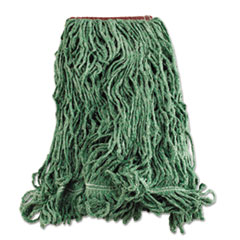 Rubbermaid® Commercial Super Stitch Blend Mop Heads, Cotton/Synthetic, Green, Large