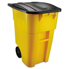 Rubbermaid® Commercial Brute Rollout Container, Square, Plastic, 50 gal, Yellow