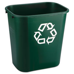 Rubbermaid® Commercial Deskside Paper Recycling Container, Rectangular, Plastic, 7 gal, Green
