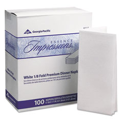 Georgia Pacific® Professional Essence Impressions 1/8-Fold Dinner Napkins, Two-Ply, 17 x 17, White