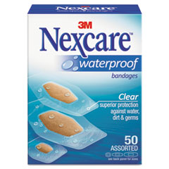 3M Nexcare™ Waterproof, Clear Bandages, Assorted Sizes, 50/Box