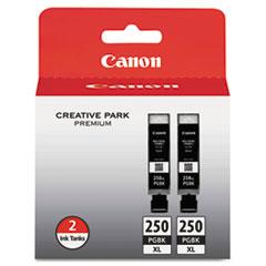 Canon® 6432B004 (PGI-250XL) ChromaLife100+ High-Yield Ink, 500 Page-Yield, Black, 2/Pack
